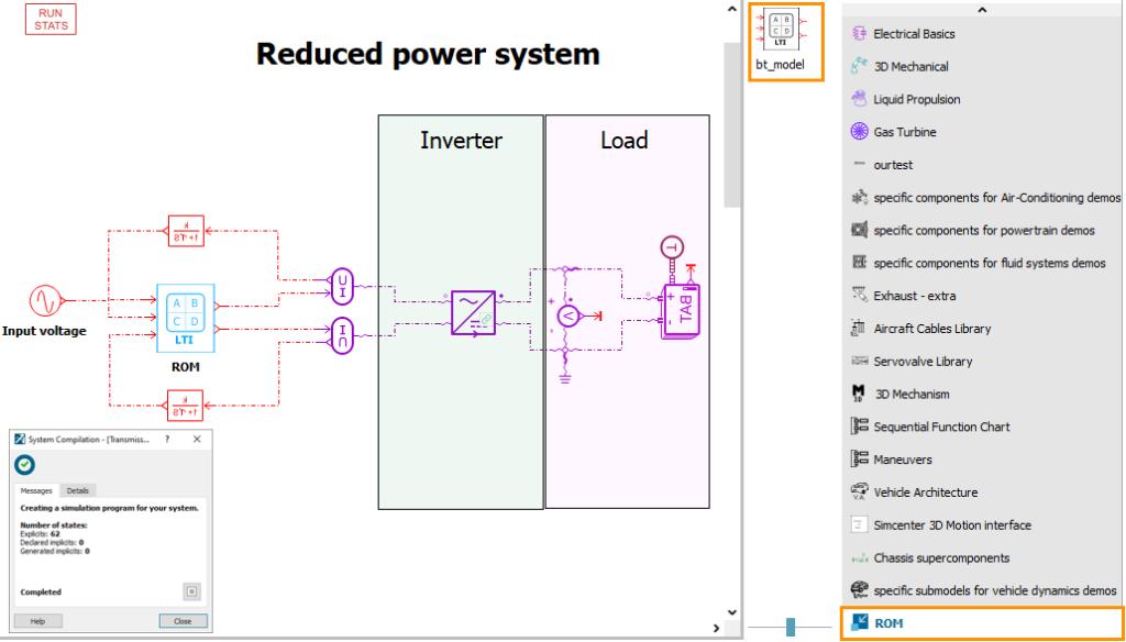 Simcenter Amesim reduced power system