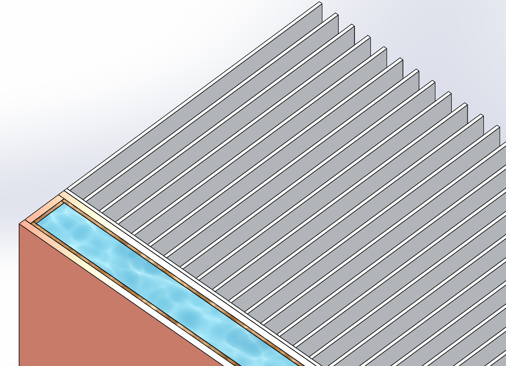 Cross-section cut showing the solid material layers used to represent the vapor chamber, which is attached to the aluminium heat sink fins