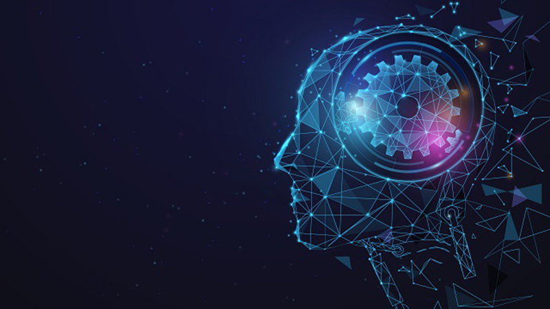 Futuristic wireframe of a human head symbolizing artificial intelligence in automotive engineering