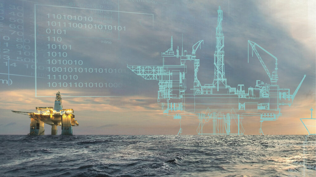 Offshore oil platform with its wireframe representation symbolizing the digital twin