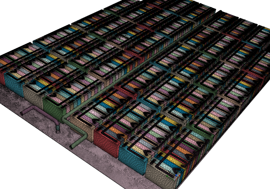 CFD mesh for battery pack thermal simulations