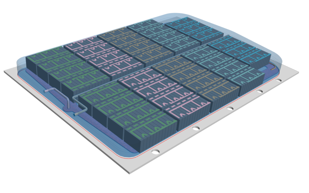 CAD geometry used in battery pack thermal simulations