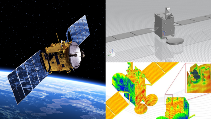 Electromagnetic simulation for a satellite