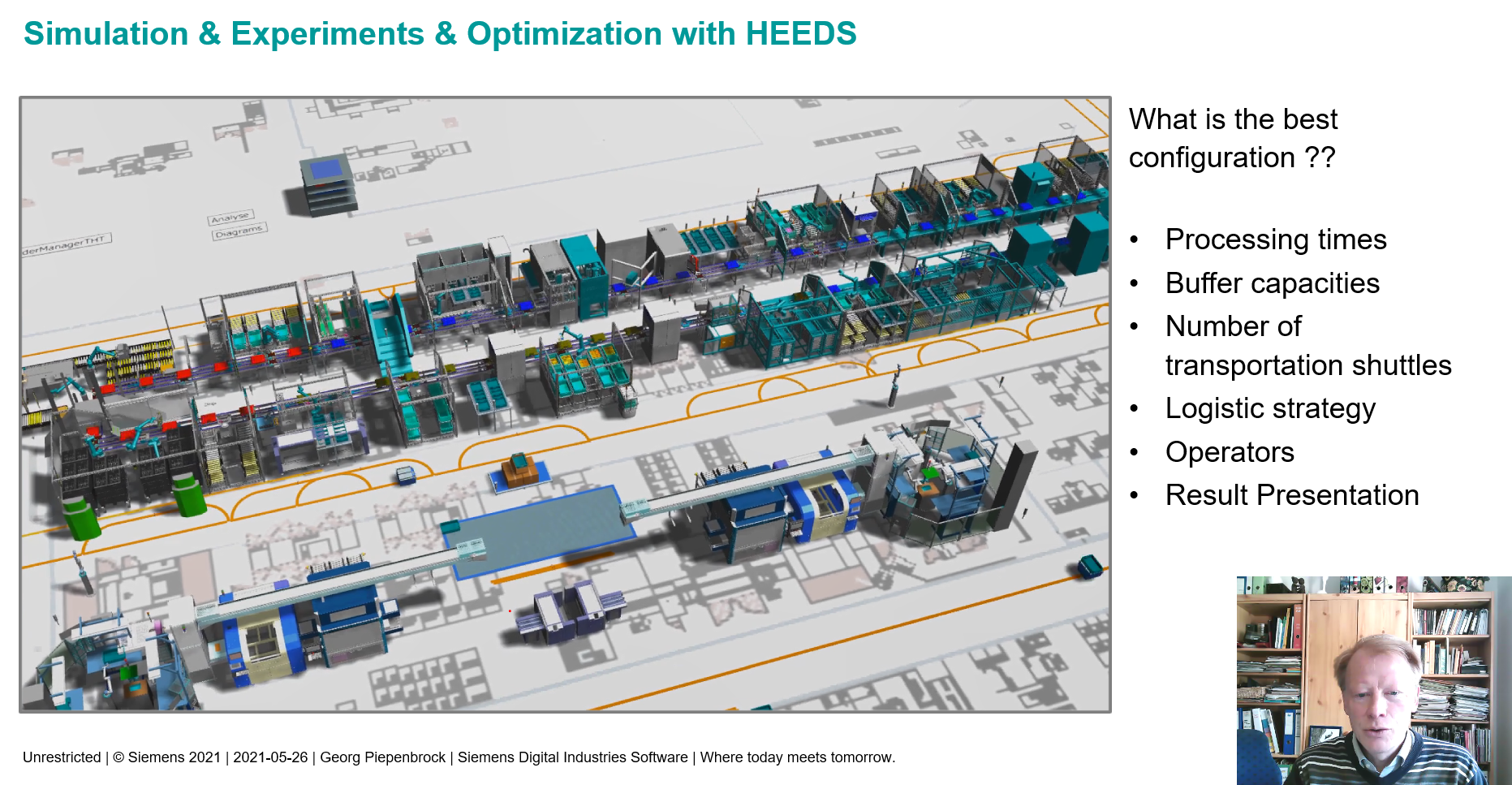 Plant Simulation Connection to HEEDS Optimization using the Sherpa Algorithm