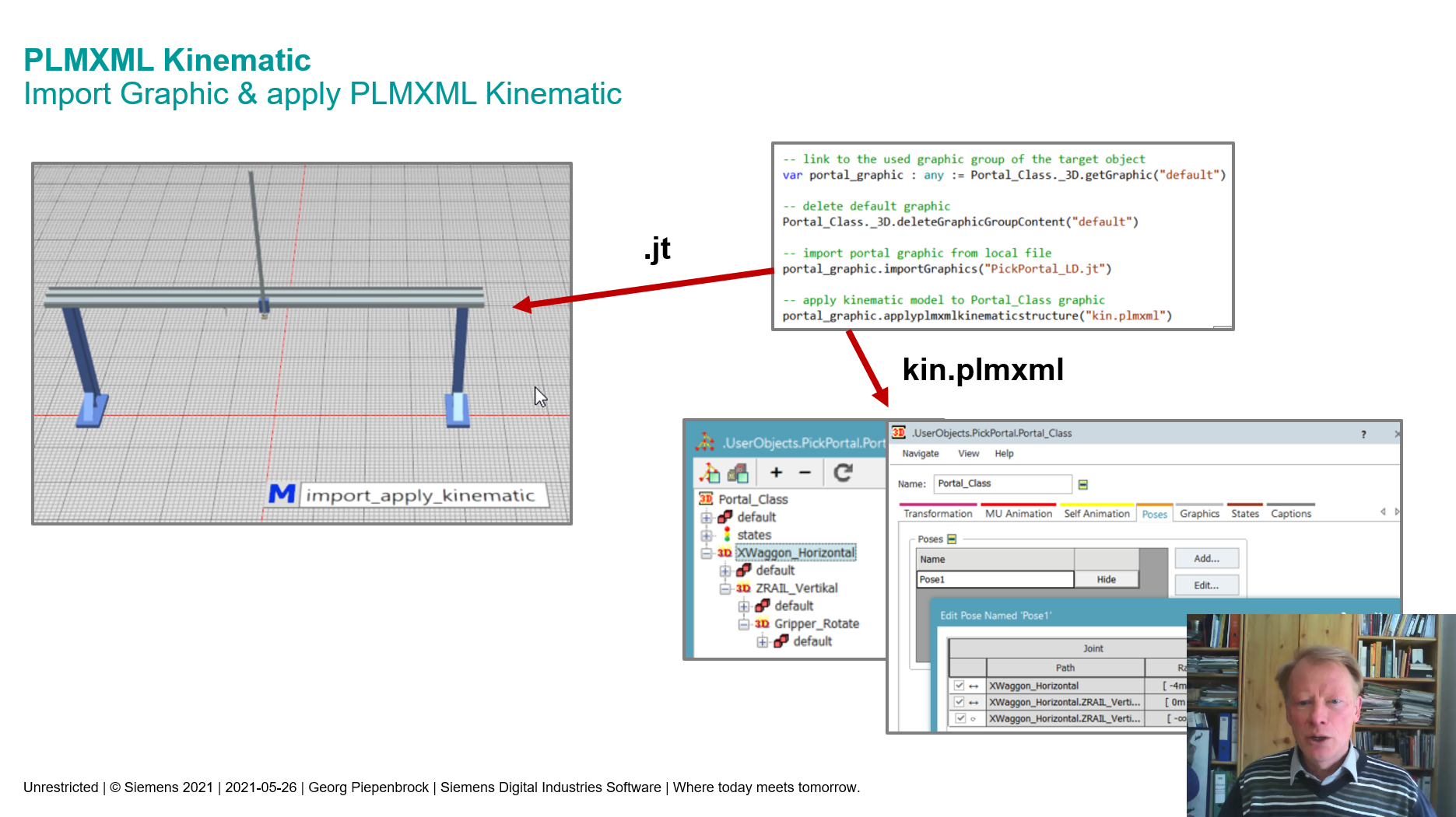 PLMXML Kinematic Import Graphic & apply PLMXML Kinematic