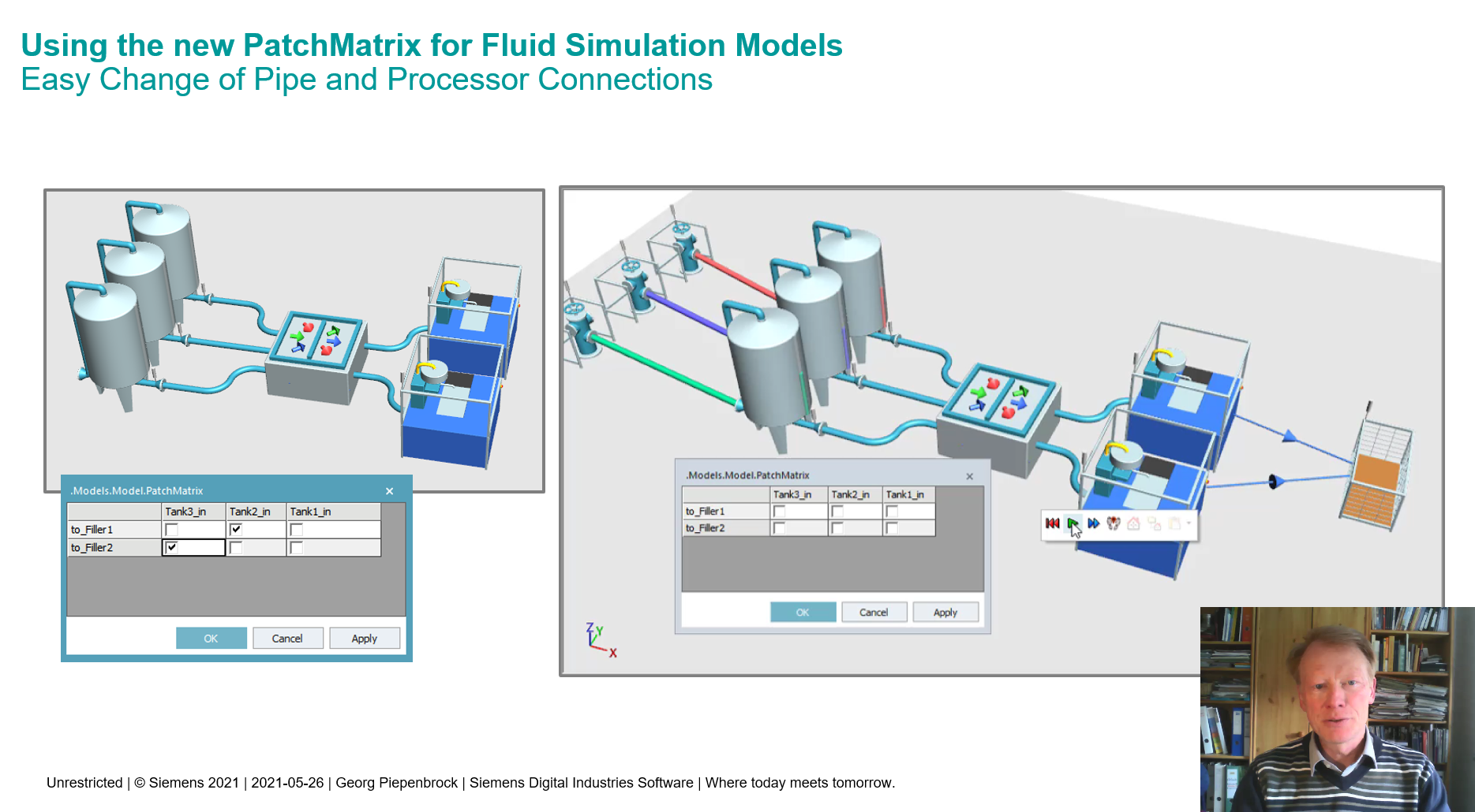 Using the new PatchMatrix for Fluid Simulation ModelsEasy Change of Pipe and Processor Connections