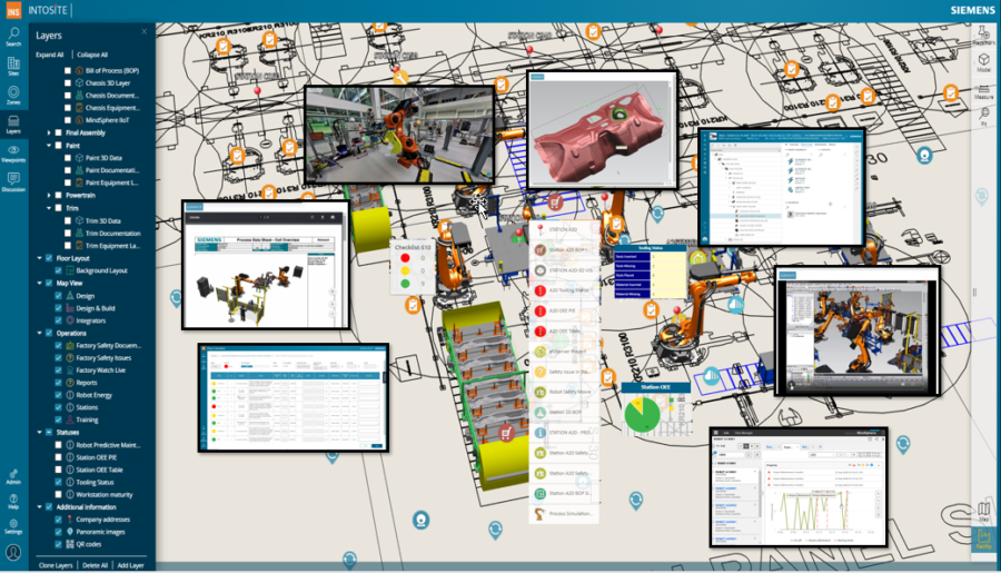 Intosite for manufacturing information and factory navigation
