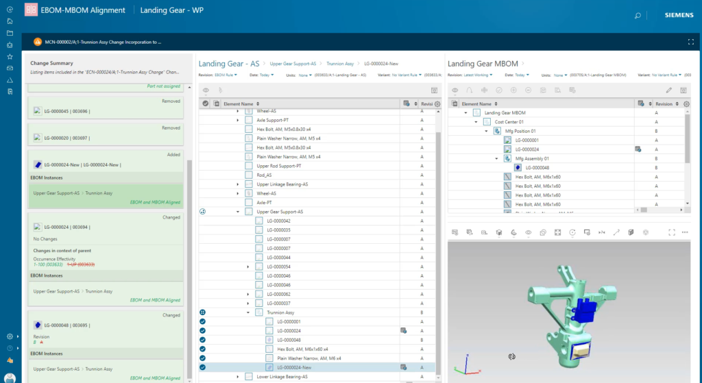 Image showing screen of Easy Plan software for management of manufacturing bill of materials