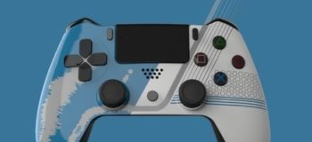 Fictional gaming controller created in Solid Edge, showcasing how The Fuel can show their customers a design in Solid Edge and the equivalent in Keyshot, demonstrating how it quickly allows them to review the design in a range of colors and finishes.