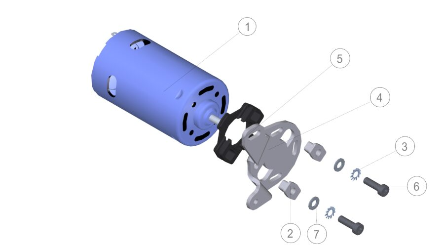Exploded view of a motor in Solid Edge with balloons